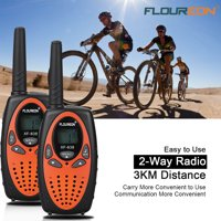 FLOUREON 2 Pack Handheld Walkie Talkie, Two Way Radios 22 Channel 3000M (MAX 5000M open field) UHF Long Range (Orange/Black)