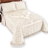 Royalty Elegant Scroll and Checkered Pattern Chenille Bedspread with Fringe Border, King, Ivory