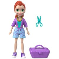 Polly Pocket Active Pose Totes Cute Lila Glam Doll with Salon Kit