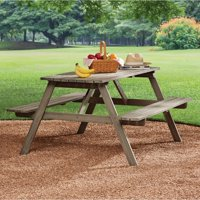 Mainstays Martis Bay Slatted Picnic Table, Weathered Gray