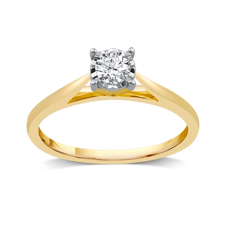 Forever Bride 10KT Yellow Gold 1/10 cttw Diamond MP Solitaire Ring