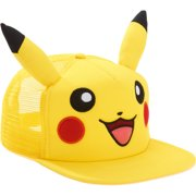 Pikachu Snapback Trucker Hat with Embroidered Pikachu Face 8fc7f24cc8a6