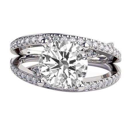 2ct White Sapphire Ring with Diamonds 3 row Micro Pave Ring White Gold 14K Round
