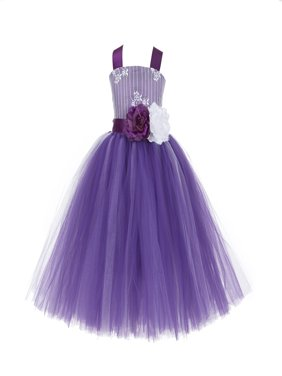 Ekidsbridal Formal Tutu Criss-Cross Back Tulle Lace Flower Girl Dress Bridesmaid Wedding Pageant Toddler Easter Holiday Spring Summer Communion Recital Birthday Baptism Ceremony Special Occasions 119F