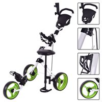 Costway Foldable 3 Wheel Push Pull Golf Club Cart Trolley w/Seat Scoreboard Bag Swivel