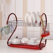 2 Level Dish Cup Drying Rack Drainer Organizer Holds up to 17 plates or bowls ,Stainless Steel