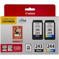 Canon PG-243/CL-244/GP-601 Ink & Photo Paper Combo Pack, Black/Tri-Color