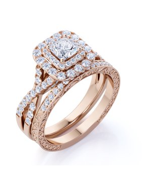 1.25 ct - Square Diamond - Double Halo - Twisted Band - Vintage Inspired - Pave - Wedding Ring Set in 10K Rose Gold