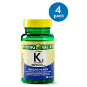 (4 Pack) Spring Valley Vitamin K2 Softgels, 100 mcg, 60 Ct