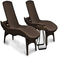 Keter Pacific Chaise Sun Lounger and Side Table Set, Brown