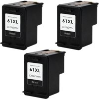 3 Pack Remanufactured High Yield HP 61 Ink Cartridges, includes: 3 HP 61XL Black Ink