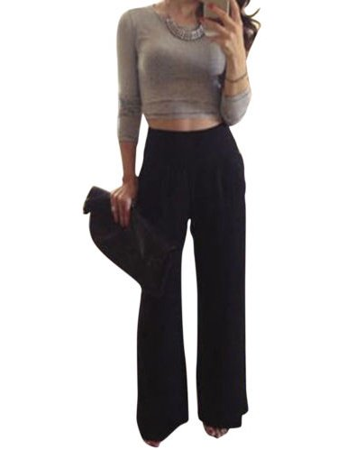 Women Wide Leg High Waist Solid Palazzo Trousers Flare Loose Casual Long - Wide Leg Palazzo Pants