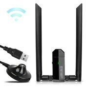 TSV 1200Mbps Long Range USB WiFi Adapter Dual Band 2.4/5GHz Wireless Network Two 5dBi Wi-Fi Antennas USB 3.0 For Desktop Laptop Windows 10 / 8.1 / 8 / 7 / XP Mac OS