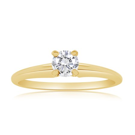 G/SI 1/3ctw Diamond Solitaire Engagement Ring in 14k Yellow Gold