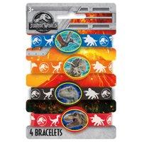 Jurassic World Rubber Bracelet Party Favors, 4ct