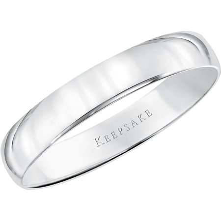 4mm Solid Gold Wedding Band (10kt White Gold Wedding Band,)