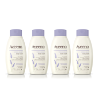 (4 Pack) Aveeno Stress Relief Body Wash with Lavender & Chamomile, 12 fl. oz