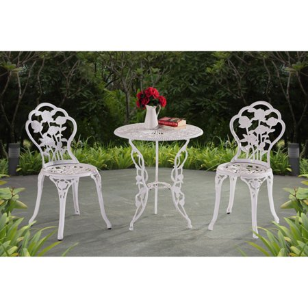 Sunjoy Releve 3 Piece Rose Bistro Set, Outdoor Floral Antique Style Metal Table and Chairs Dinning Set, White ()