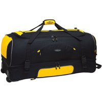 "Travelers Club X-Large 36"" Drop-Bottom Rolling Duffel - Black w/ Yellow"