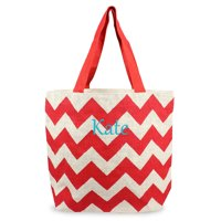 Personalized Red Chevron Parchment Jute Tote Bags