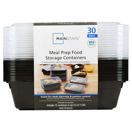 Mainstays Meal Prep Food Storage Containers, 15 Count - Plastic Cake Containers