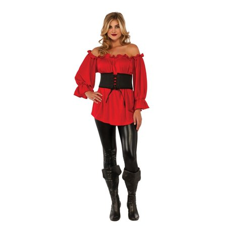 Halloween Red Renaissance Blouse Adult Costume - Renaissance Costumes Halloween