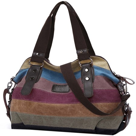 Handbags for Women, Multicolor Stripe Leisure Canvas Shoulder Bag Cross Body Bag Tote Handbags for Women Ladies