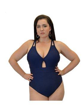 Yacht & Smith Plus Size Womens Swimsuit, Fashion One Piece Bathing Suit Tank (Navy, 2X)