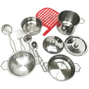 Kids Metal 11 PCS Pretend Kitchen Realistic Play Set Pots Pans Preschool  Chef Cookware