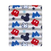 Disney Mickey Mouse Plush Grey, Red, Blue Baby Blanket