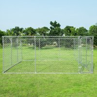Gymax Large Pet Dog Run House Kennel Shade Cage 15'x15' Roof Cover Backyard Playpen