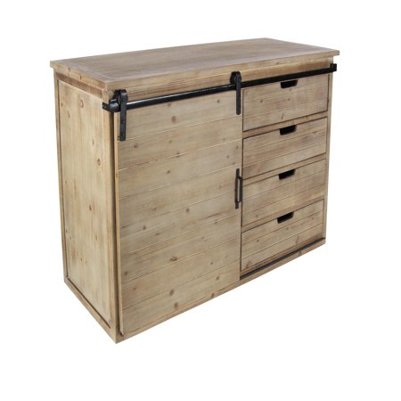 Demode 44 X 32 Farmhouse Iron Natural Wood Cabinet With Sliding