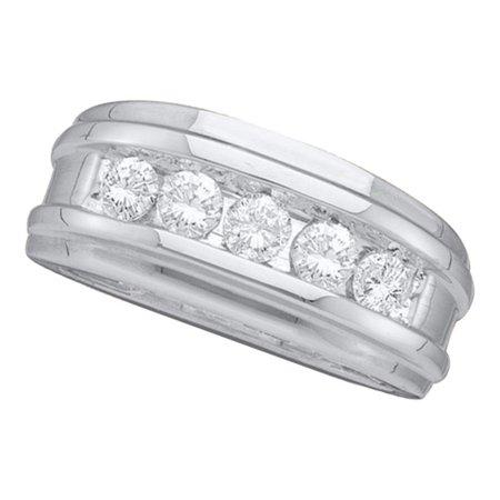 14k White Gold Round Channel-set Diamond Mens Masculine Wedding Band 1/2 (Masculine Blend)