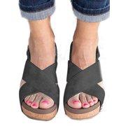 5af7c525a Women Summer Sandals Platform Slingback Wedge Heel Causal Peep Toe Shoes