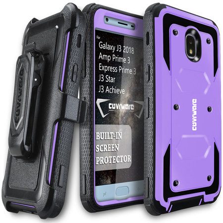 Samsung Galaxy J3 (2018)/ J3 Star / J3 Achieve / Amp Prime 3 / Express Prime 3 Case, COVRWARE [Aegis Series] w/ [Built-in Screen Protector] Rugged Holster Armor Case [Belt Clip][Kickstand], Purple