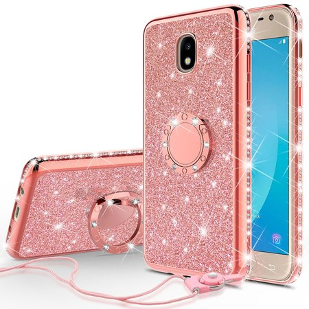 Cute Glitter Bling Diamond Bumper Ring Stand Phone Case for Samsung Galaxy J7 Star Case,J7 Crown Case,J7v 2nd Gen,J7 2018,J7 Refine Case, Clear Kickstand Case Girls Women - Rose Gold