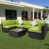 Kinbor 7pcs Outdoor Patio Furniture Sectional Pe Wicker Rattan Sofa Set