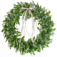 16 inch Artificial Green Leaf Wreath with Bow Spring Front Door Wreath Greenery Garland Home Office Wall Wedding Decor