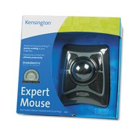 Kensington Expert Mouse Wired Trackball, Scroll Ring, Black/Silver