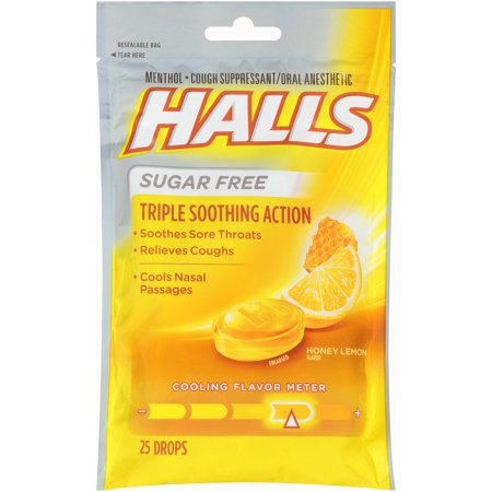 Halls, Sugar Free Honey Lemon Cough Drops, 25 Pcs