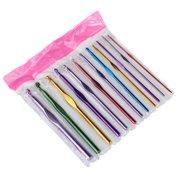 Haobase Metal Handle Crochet Hook Knitting needles Set Aluminum Bamboo 12Pcs