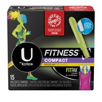 U by Kotex Fitness Tampons with FITPAK, Regular Absorbency, Unscented 15 Count
