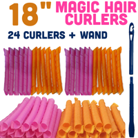 MAGIC HAIR CURLERS PACK OF 2 (18 INCHES/45 CM) - TOTAL 24 CURLERS AND 2 LONG WANDS.