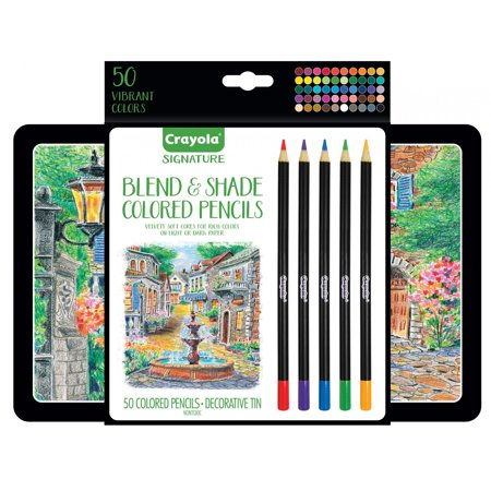 Small Pencils (Crayola Blend & Shade Colored Pencils In Decorative Tin, Soft Core, Adult Coloring, 50)