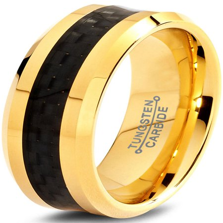 Gold Beveled Tungsten Rings (Tungsten Wedding Band Ring 8mm for Men Women Comfort Fit 18K Yellow Gold Plated Black Carbon Fiber Beveled Edge Polished Lifetime Guarantee )