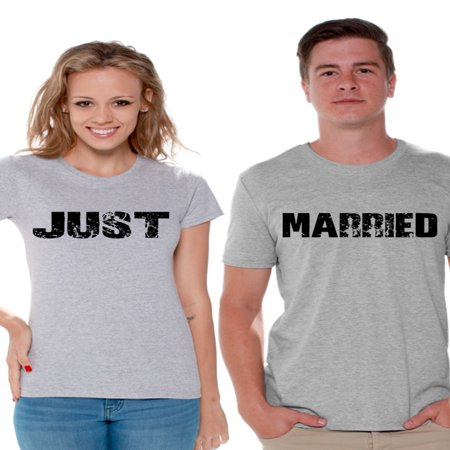 Awkward Styles Just Married Couple Shirts Newlywed Couple T shirts for Valentine's Day Cute Couples T-Shirt Just Married Matching Couple Just Married Shirts Honeymoon Gifts Wife Shirt Husband
