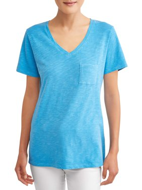 Women's Short-Sleeve V-Neck Slub Tee