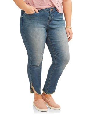 Women's Plus Angled Fray Hem Skinny Jeans