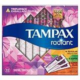 Tampax Radiant Triplepack (Regular & Super & Super Plus) Tampons, Unscented, 32 Count