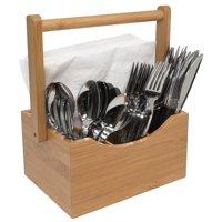Sorbus Bamboo Utensil Caddy Napkin Holder and Condiment Organizer - Multi-Purpose - Ideal for Kitchen, Dining, Buffet, Picnics, etc
